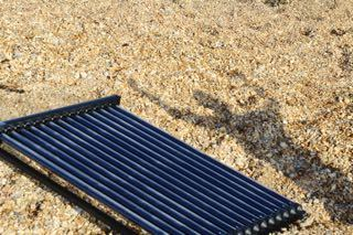 Solar thermal panel on the beach